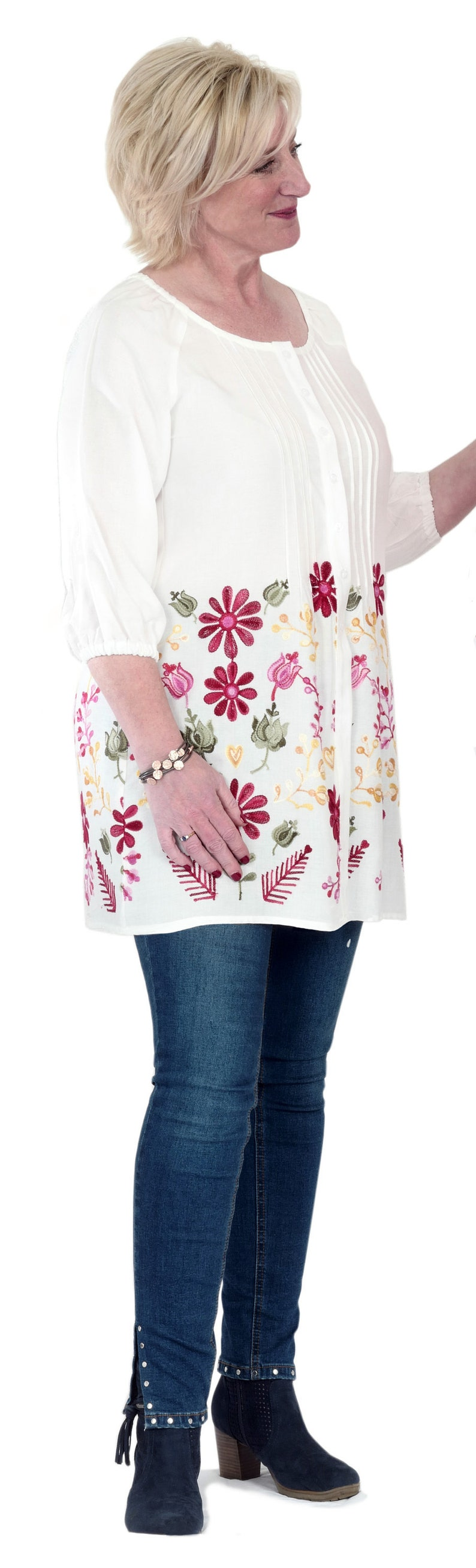 introductory price Flora Embroidered Tunic Adaptive Top with Tuck Detail /& Velcro Buttons for easy fastening