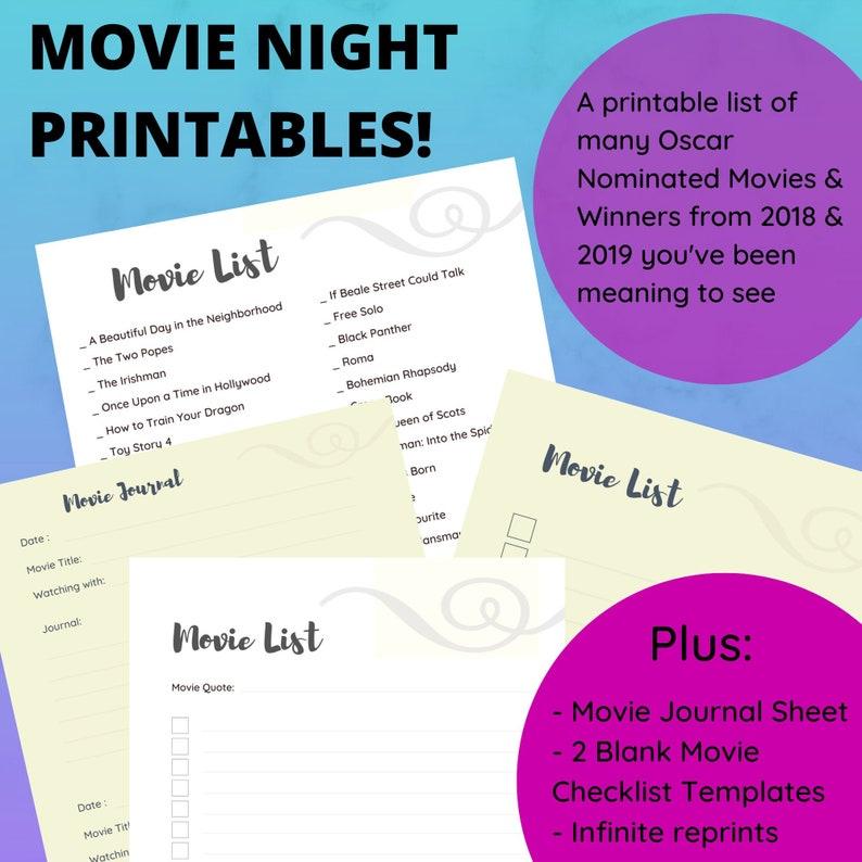 Movie Planner Movie Tracker Movie Night Bucket List image 0