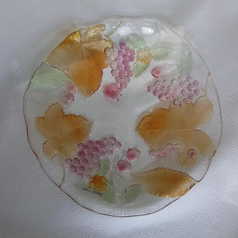 Mikasa Studio Nova Japan Cornucopia Pattern Savoir Vivre Crystal Glass Serving Platter Fruit Wild Orchard Grapes Leaves Cherries Centerpiece