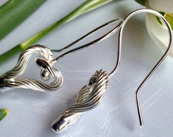 Entwined Heart Earrings Fine Sterling Silver