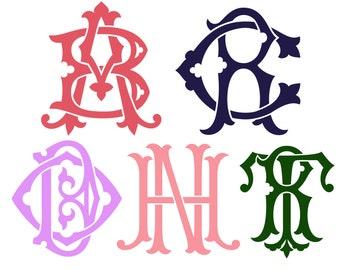 Two Letter Monogram Sticker, Couples Monogram, Custom Double Initials Monogram, Personalized Gift, Monogram Decal, Yeti Duogram