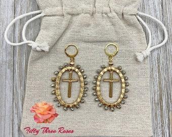 Cross Earrings - Handmade Earrings - Wire Wrap Earrings - Dangle Earrings - Crystal Earrings - Statement Earrings - Gift For Her