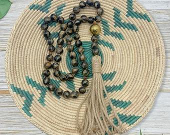 Table Top Rosary - Wood Rosary - Wood Bead Garland - Large Prayer Beads - Farmhouse Decor - Animal Print Beads - Rosary