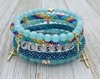 Word Bracelet - Inspirational Beaded Bracelet - Gift For Her - Blessed Bracelet - Block Letter Bracelet - Bracelet Stacks - Seed Beads
