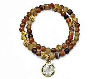 Caramel Brown Agate Rosary Bracelet