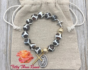 Brown Marbled Agate - Animal Print Bracelet - Rosary Bracelet - Beaded Bracelet -Prayer Beads - Rosary Beads - Inspirational jewelry -