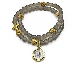 Heather Gray Agate Rosary Bracelet