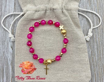 Hot Pink Agate Rosary Bracelet With Brushed Gold Beads & A Cross Charm