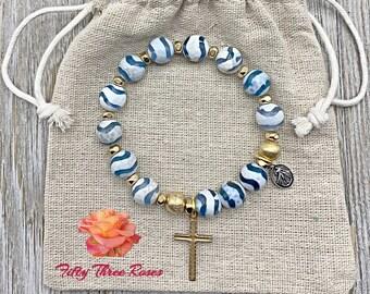 Rosary Bracelet - For Women - Stretch Bracelets - Cross Bracelet - Blue Agate - Bracelet Stack - Gemstone Bracelet - Simi Precious Stones
