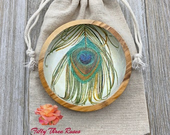 Olive Wood Dish - Ring Dish - Gift Ideas - Jewelry Holder - Gift For Her - House Warming Gift - Trinket Dish - Peacock Decor