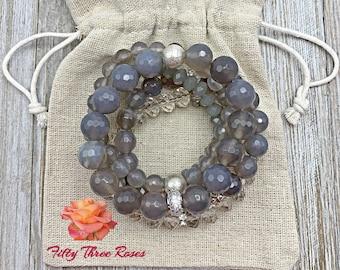 Bracelet Stack - Beaded Bracelets - Gemstone Bracelets - Silver Bracelets - Agate Bracelets - Crystal Bracelets - Bracelet Sets