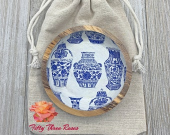 Ring Dish - Catch All - Trinket Dish - Blue And White Porcelain - Wood Bowl - Jewelry Organizer - Home Decor