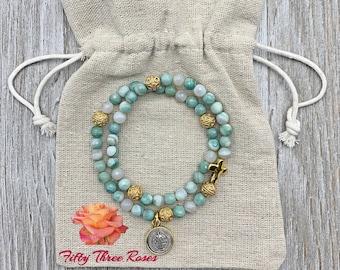Ocean Green Marbled Agate Rosary Bracelet