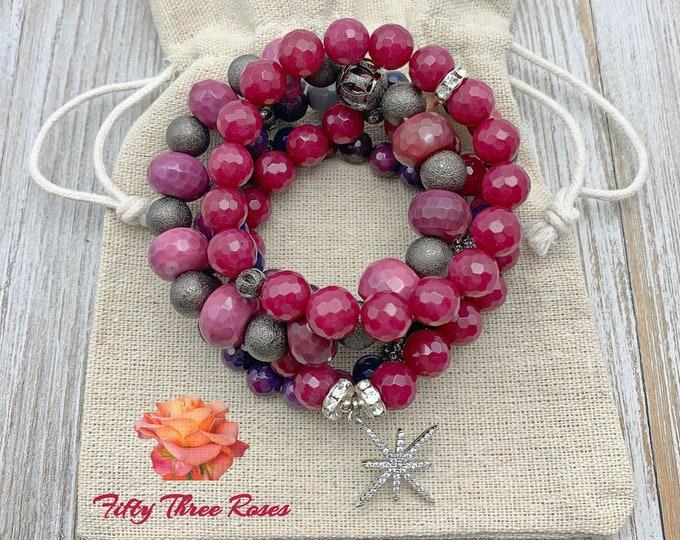 Featured listing image: Bracelet Set - Stack Bracelets - Stretch Bracelet - Raspberry - Gemstone Bracelets - Agate Bracelets - Beaded Bracelets - Healing Jewelry