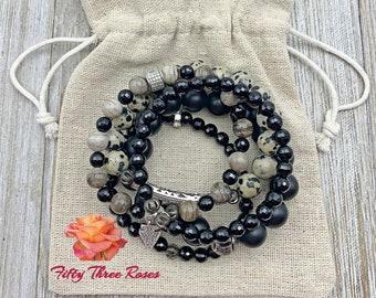 Bracelet stacks - Spotted Agate - Beaded Bracelets - Gemstone Bracelets - Micro Pave Beads - Silver Bracelets - Womens Gift