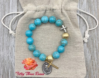 Turquoise Howlite Rosary Bracelet With An Our Lady Of Grace Medal