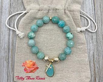 Aqua Agate - Agate Bracelet - Beaded Bracelet - Aqua Crystal - Cross Charm Bracelet - Micro Pave Bracelet - Gift For Her