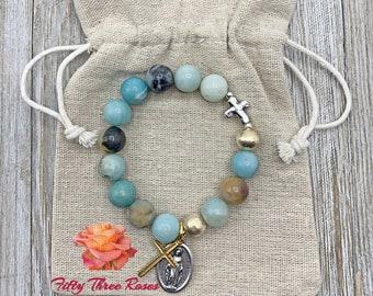 Amazonite - Amazonite Bracelet - Rosary Bracelet - Gemstone Bracelet - Cross Charm - Beaded Bracelet - Rosary - Gift