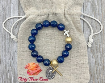 Royal Blue Agate Rosary Bracelet With A Gold Cross & An Our Lady Of Grace Medal