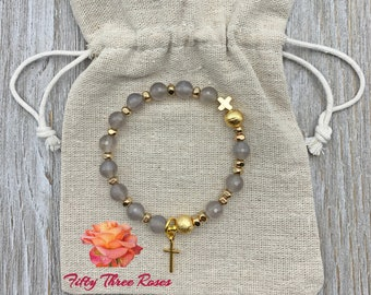 Opal Gray Agate Rosary Bracelet With Brushed Gold Beads & Cross Charm