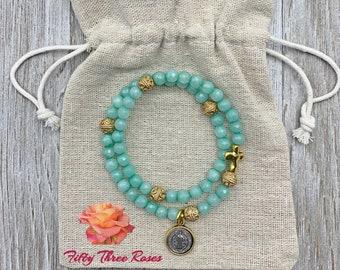 Agate Rosary Bracelet - Rosary Bracelet - Prayer Beads - Rosary Beads - Religious Gift - For Her - Beaded Bracelets - Bracelet Stack