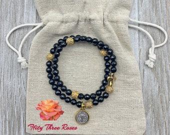 Jet Black - Agate Rosary Bracelet - Rosary Bracelet - Prayer Beads - Religious Gift - Rosary Wrap Bracelet - Beaded Bracelet - For Her