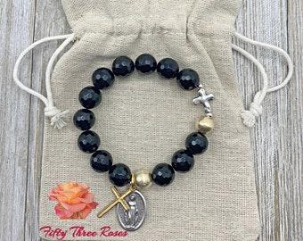 Black Agate - Rosary Bracelet - Beaded Bracelet - Religious Gifts - Inspirational Gifts - Prayer Beads - Rosary