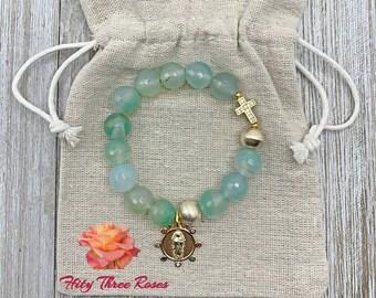 Seafoam Green - Rosary Bracelet - Mother Mary Charm - Prayer Beads - Gemstone Rosary - Cross Bracelet Charm Bracelet - Gift For Her