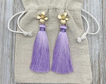Lavender Earrings - Purple Earrings - Tassel Earrings - Silk Tassels - Statement Earrings - Bridesmaids Jewelry - Flower Earrings