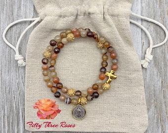 Agate -  Rosary Bracelet -  Rosary Wrap Bracelet - Beaded Bracelet - Religious Gift - Prayer Beads - Bracelet Stack - Charm Bracelet