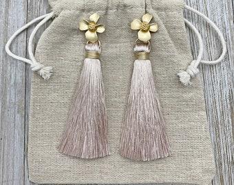 Blush Pink Earrings - Tassel Earrings Silk Tassels - Flower Earrings - Pink Tassel Earrings - Bridesmaids Jewelry -  Wedding Earrings
