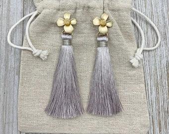 Gray Tassel Earrings - Tassel Earrings - Statement Earrings - Flower Earrings - Womens Jewelry - Gray Earrings - Bridesmaids Jewelry