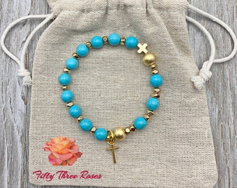 Turquoise Howlite Rosary Bracelet With Brushed Gold Beads & Cross Charm