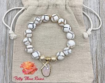 White Bracelet - Cross Bracelet - Agate Bracelet - Beaded Bracelet - Micro Pave - Gift For Her - Religious Jewelry - Opal Bracelet
