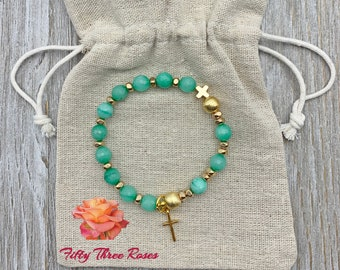 Seafoam Green Agate Rosary Bracelet With Brushed Gold Beads & Cross Charm