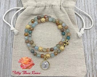 Rosary Bracelet - Blue Agate - Rosary - Prayer Beads - Beaded Bracelet - Rosary Wrap Bracelet - Saint Benedict Medal - Cross Charm