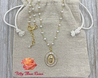 Our Lady Of Guadalupe Necklace - Pearl Necklace - Beaded Necklace - Religious Jewelry - Rosary Chain - Womens Gifts
