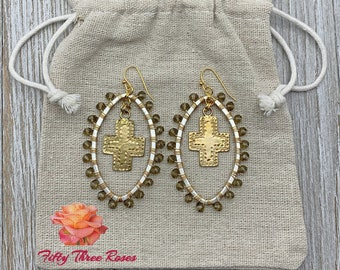 Wire Wrapped Earrings - Dangle Earrings - Handmade Earrings - Topaz Earrings - Crystal Earrings - Cross Earrings - Gift For Her