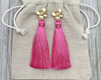 Pink Tassel Earrings - Long Tassel Earrings - Silk Tassels - Statement Earrings - Flower Earrings - Womens Gifts