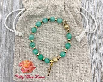 Agate Rosary Bracelet - Cross Charm - Rosary Bracelet - Prayer Beads - Beaded Bracelet - Gift For Her - Religious Gift - Stretch Bracelet