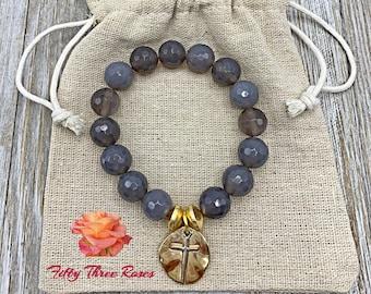 Cross Charm Bracelet - Beaded Bracelet - Mothers Day Gift -  Bracelet Stack - For Women - Gray Agate Beads - Gemstone Bracelet - Gold Beads
