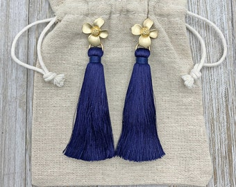 Navy Blue Earrings - Blue Tassel Earrings - Tassel Earrings - Silk Tassels - Statement Earrings - Bridesmaids Jewelry - Gifts For Her