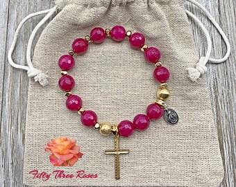 Gift For Mom - Rosary Bracelet - For Women - Stretch Bracelets - Birthday Gift - Pink Agate - Miraculous Medal - Gemstone Bracelet
