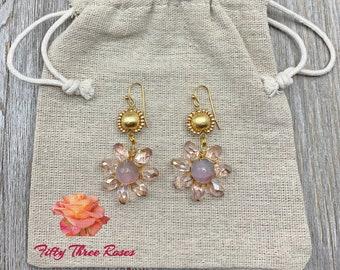 Pink Flower Earrings - Crystal Earrings - Handmade Earrings - Wire Wrapped Earrings - Pink Earrings - Dangle Earrings