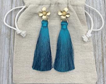 Teal Earrings - Tassel Earrings - Long Tassel Earrings - Statement Earrings - Silk Tassels - Flower Earrings - Bridesmaids Jewelry