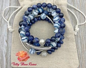 Blue Bracelets - Bracelet Stacks - Beach Jewelry - Healing Stones - Beaded Bracelets - Stretch Bracelets - Bracelet Sets - Agate Bracelets