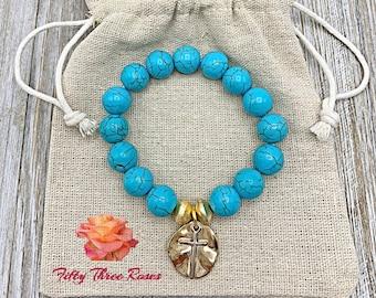 Turquoise Bracelet - Mom Gift - Cross Charm Bracelet - Beaded Bracelet - Bracelet Stack - Gold Bracelet - For Women - Gemstone Bracelet