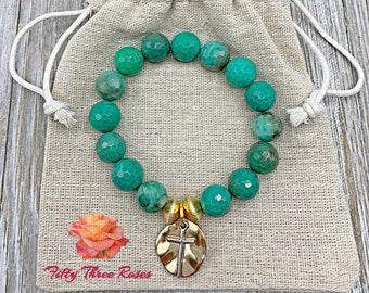 Chrysoprase Beads - Cross Charm Bracelet - Beaded Bracelet - Mothers Day Gift -  Bracelet Stack - For Women - Gemstone Bracelet