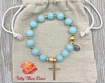 Mothers Day Gift - Rosary Bracelet - For Women - Stretch Bracelets - Cross Bracelet - Light Blue Agate - Gemstone Bracelet - Simi Precious