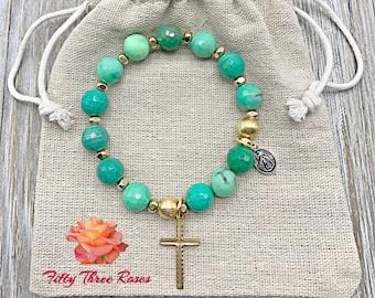 Rosary Bracelet - For Women - Stretch Bracelets - Cross Bracelet - Chrysoprase Gemstone - Birthday Gift - Gemstone Bracelet - Mom Gift